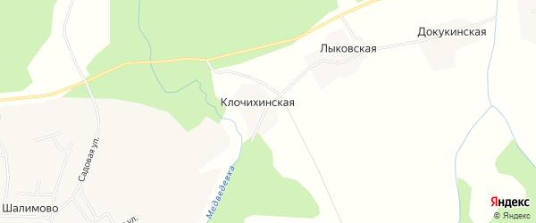 Карта Клочихинской деревни в Архангельской области с улицами и номерами домов