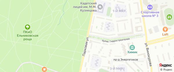 Парковая улица на карте Новочебоксарска с номерами домов