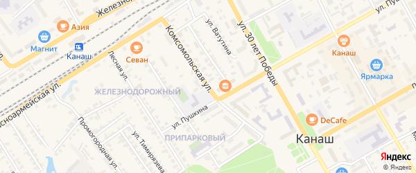 Комсомольская улица на карте Канаша с номерами домов