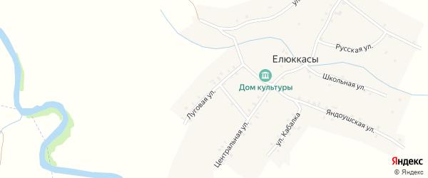 Луговая улица на карте деревни Елюккас с номерами домов