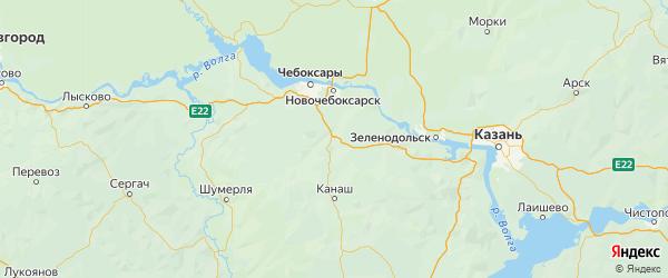 Карта Цивильского района республики Чувашия с населенными пунктами и городами