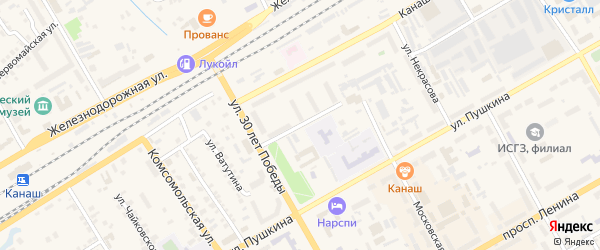 Переулок Б.Хмельницкого на карте Канаша с номерами домов