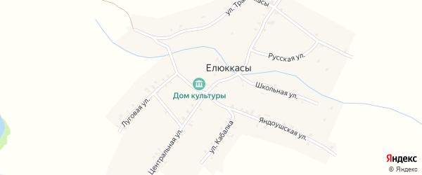 Центральная улица на карте деревни Елюккас с номерами домов