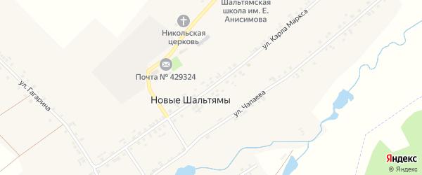 Улица Карла Маркса на карте деревни Новые Шальтямы с номерами домов