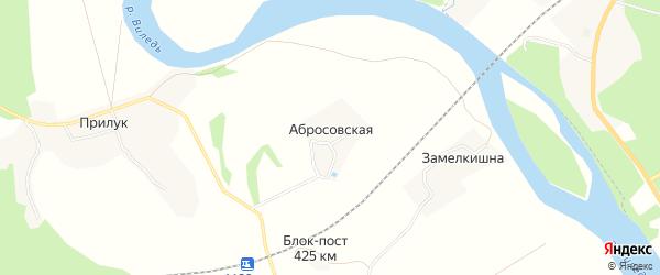 Карта Абросовской деревни в Архангельской области с улицами и номерами домов