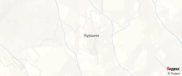 Карта села Хуршней в Дагестане с улицами и номерами домов