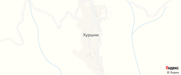 Западная улица на карте села Хуршней с номерами домов