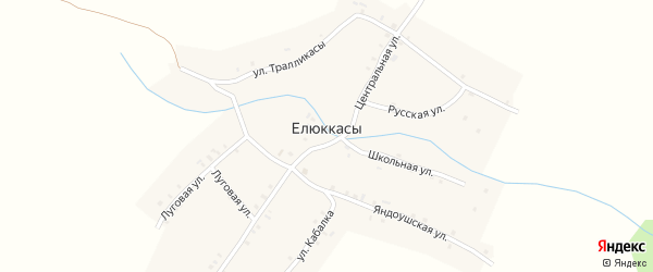 Улица Тралликасы на карте деревни Елюккас с номерами домов