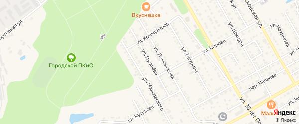 Улица Пугачева на карте Канаша с номерами домов
