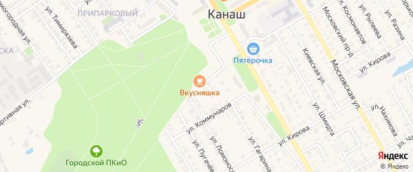 Проезд Островского на карте Канаша с номерами домов