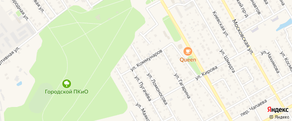 Улица Коммунаров на карте Канаша с номерами домов