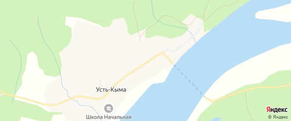 Карта деревни Усть-Кыма в Архангельской области с улицами и номерами домов