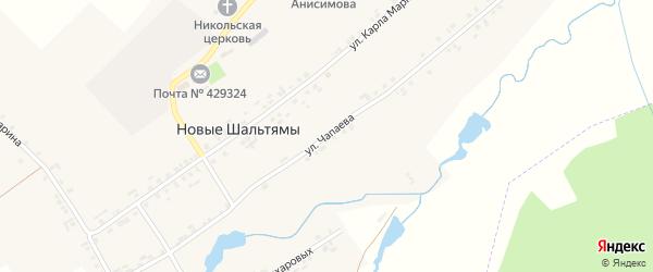 Улица Чапаева на карте деревни Новые Шальтямы с номерами домов