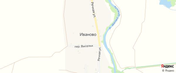 Переулок Выселки на карте села Иваново с номерами домов