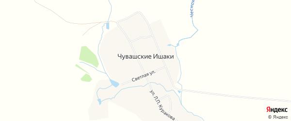 Карта деревни Чувашские Ишаки в Чувашии с улицами и номерами домов