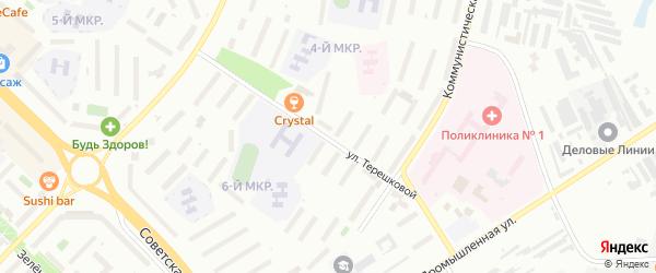 Улица Терешковой на карте Новочебоксарска с номерами домов