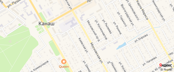 Московская улица на карте Канаша с номерами домов