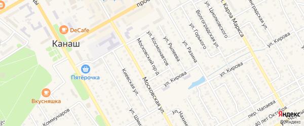 Московский проезд на карте Канаша с номерами домов