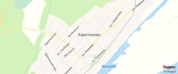 Карта деревни Харитоново в Архангельской области с улицами и номерами домов
