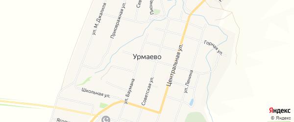Карта деревни Урмаево в Чувашии с улицами и номерами домов