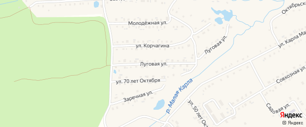 Луговая улица на карте села Шемурши с номерами домов