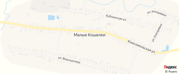 Комсомольская улица на карте деревни Малые Кошелеи с номерами домов