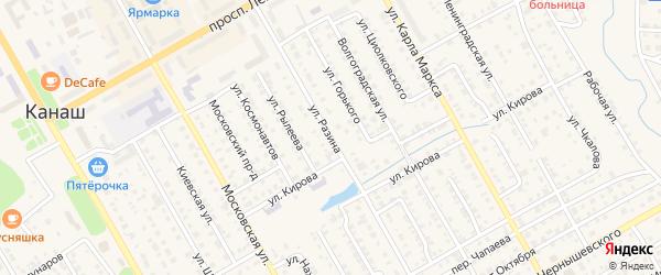 Улица Разина на карте Канаша с номерами домов