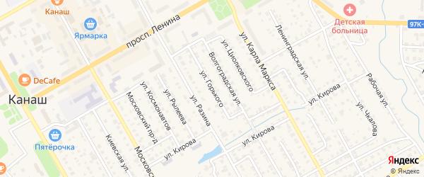 Улица Горького на карте Канаша с номерами домов