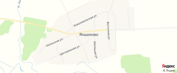 Карта деревни Яншихово в Чувашии с улицами и номерами домов
