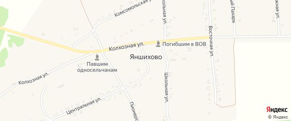 Пионерский переулок на карте деревни Яншихово с номерами домов