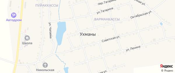 Переулок Гагарина на карте села Ухманы с номерами домов