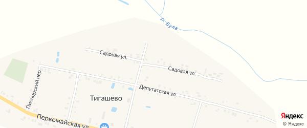 Садовая улица на карте деревни Тигашево с номерами домов