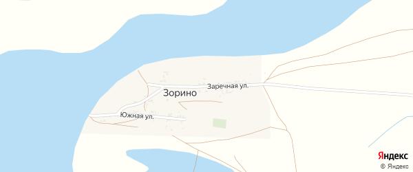 Заречная улица на карте села Зорино с номерами домов