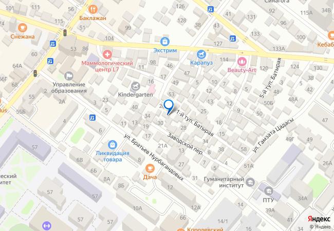 f69635310 Заводской переулок, 24 на карте-панораме Махачкалы, организации ...