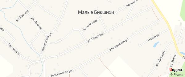 Улица Им А.М.Гладкова на карте деревни Малые Бикшихи с номерами домов