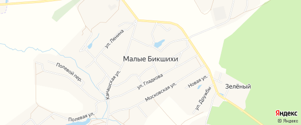 Карта деревни Малые Бикшихи в Чувашии с улицами и номерами домов