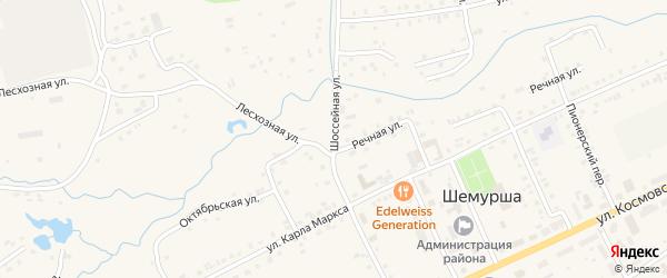 Шоссейная улица на карте села Шемурши с номерами домов