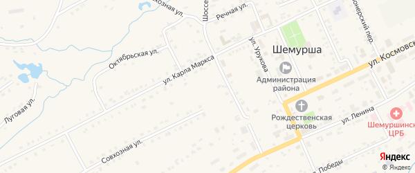Улица 50 лет Октября на карте села Шемурши с номерами домов