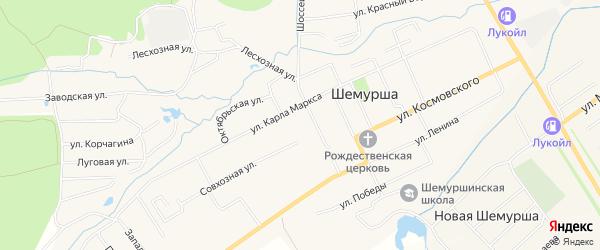 Карта села Шемурши в Чувашии с улицами и номерами домов