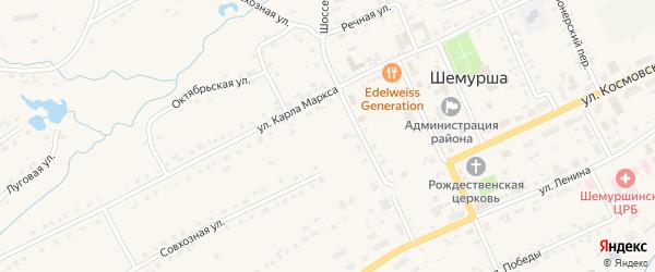 Улица 70 лет Октября на карте села Шемурши с номерами домов