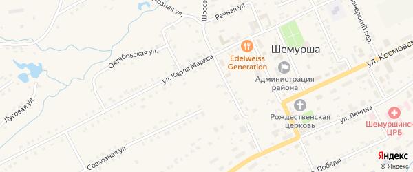 Улица Корчагина на карте села Шемурши с номерами домов