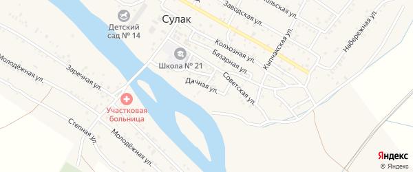 Дачная улица на карте поселка Сулака с номерами домов