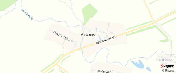 Карта села Акулево в Чувашии с улицами и номерами домов