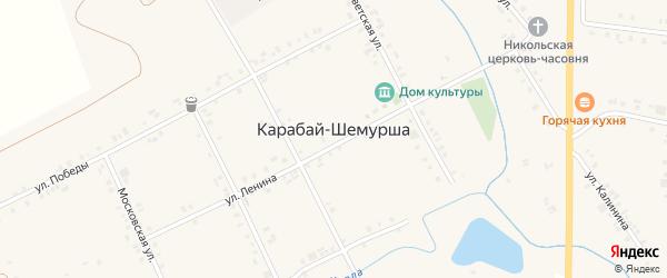 Улица Воргаш на карте деревни Карабая-Шемурши с номерами домов