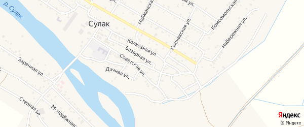 Базарная улица на карте поселка Сулака с номерами домов