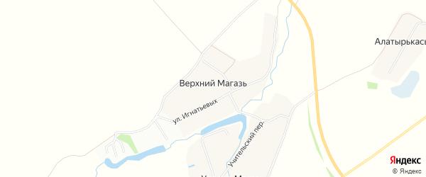 Карта деревни Верхнего Магази в Чувашии с улицами и номерами домов