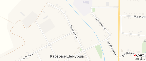 Советская улица на карте деревни Карабая-Шемурши с номерами домов