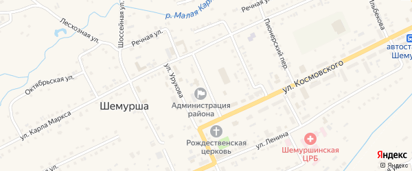 Советская улица на карте села Шемурши с номерами домов