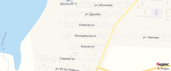 Молодежная улица на карте Комсомольского села с номерами домов