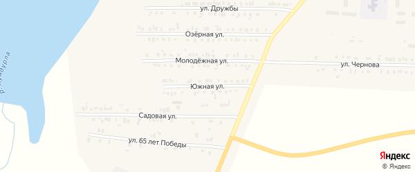 Южная улица на карте Комсомольского села с номерами домов
